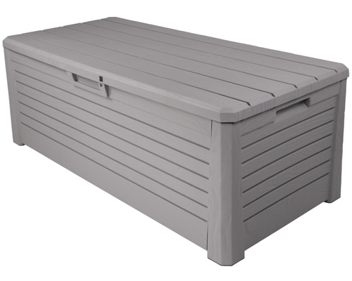 florida gartenbox kissenbox sitztruhe holzoptik sitzbank auflagenbox grau neu ebay. Black Bedroom Furniture Sets. Home Design Ideas