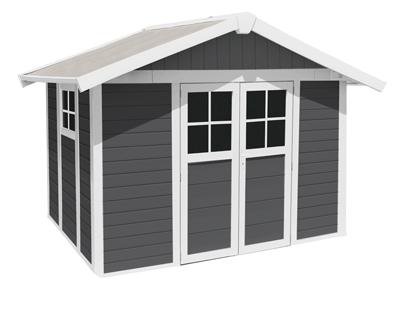 ondis24 gartenhaus deco 7 5 m kunststoff schuppen gartenh uschen grau ebay. Black Bedroom Furniture Sets. Home Design Ideas
