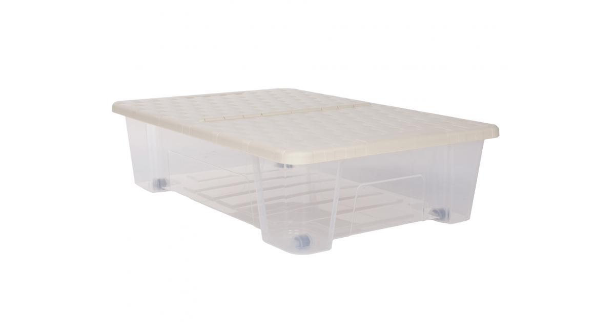 Gartenmobel Regal Metall :  Unterbettbox 25 Liter beige Rattan Rollerbox jetzt günstig kaufen