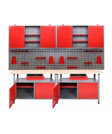 ONDIS24 Werkstatt Set Rot 240 cm 2 Schränke