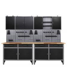 ONDIS24 Werkstatteinrichtung 7 tlg. 240 cm breit mit Lochwand und Ha