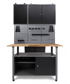 ONDIS24 Werkstatteinrichtung 120 cm, 2 Schränke + Werkbank + LW
