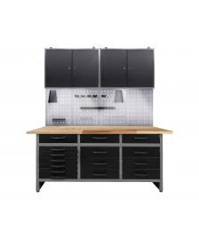 ONDIS24 Werkstatteinrichtung 170 cm, Schränke + Bank 15 Schubl.+ LED