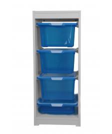 ONDIS24 Kreo Regal hoch blau mit 4 Schubläden je 17.5 Liter