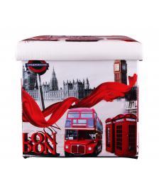 ONDIS24 Polsterhocker London Big Ben Sitzhocker mit Stauraum