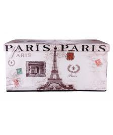 ONDIS24 Polsterhocker Paris Eiffelturm Sitzhocker mit Stauraum XL