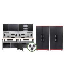 ONDIS24 Werkstatteinrichtung 240 cm, 2 Bänke + 6 Schränke + LW + LED
