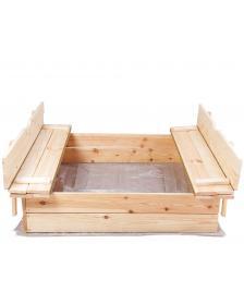 ONDIS24 Sandkasten Holz Sandkiste mit klappbaren Sitzbänken