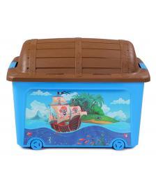ONDIS24 Spielzeugbox Rollbox Spielzeugtruhe Pirat