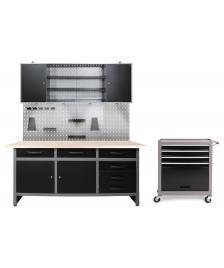 ONDIS24 Werkstatt Set Karsten 1 Schrank + Werkstattwagen LED