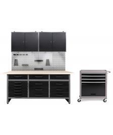 ONDIS24 Werkstatt Set Konny 2 Schränke + Werkstatteinrichtung LED