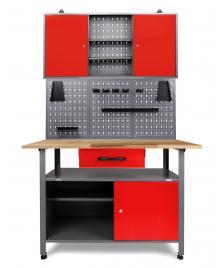 ONDIS24 Werkstatt Set Klaus 120 cm 1 Schrank rot