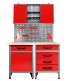 ONDIS24 Werkstatt Set Entdecker 120 cm 1 Schrank 95 cm rot