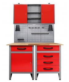 ONDIS24 Werkstatt Set Entdecker 120 cm 1 Schrank LED rot