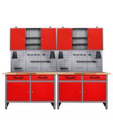 ONDIS24 Werkstatt Set Werner 240 cm 2 Schränke LED rot