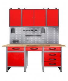 ONDIS24 Werkstatt Set Harry 160 cm 3 Schränke LED rot