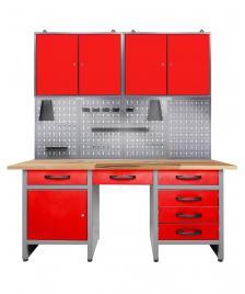 ONDIS24 Werkstatt Set Harry 160 cm 2 Schränke LED rot