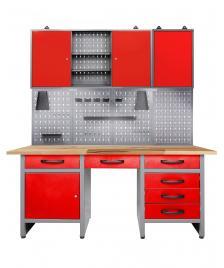 ONDIS24 Werkstatt Set Harry 160 cm 2 Schränke offen LED rot
