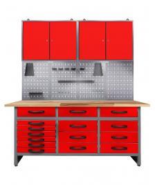 ONDIS24 Werkstatt Set Konny 160 cm 2 Schränke LED rot