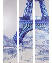 ONDIS24 Wandbild Dekorahmen 3 teilig Paris Eiffelturm
