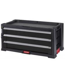 ONDIS24 Keter Werkzeugkasten mit 3 Schubladen Schwarz