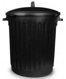 ONDIS24 Haushalttonne mit flachem Deckel ECO 80L Abfalleimer schwarz