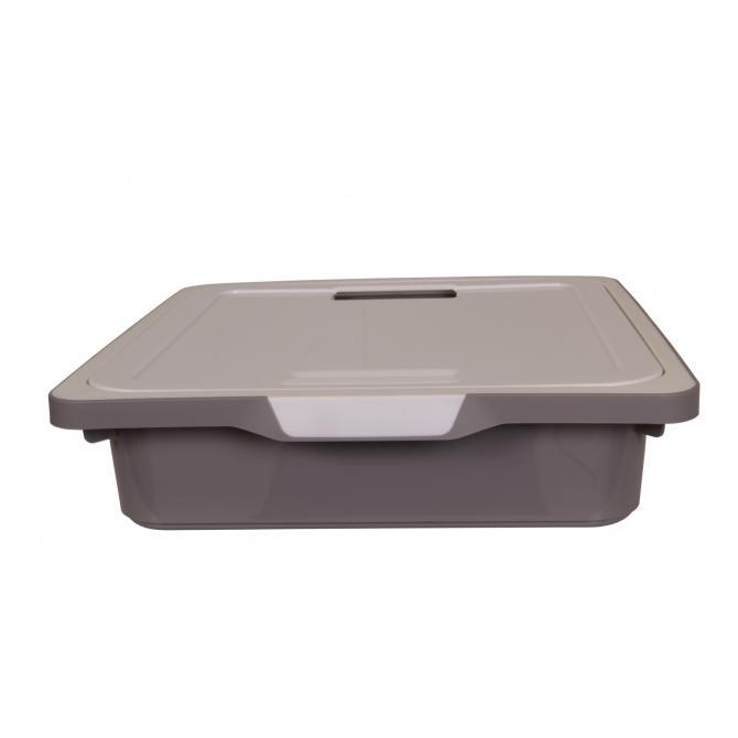 ONDIS24 Kreo Box mit Deckel 7.5 Liter grau-weiß