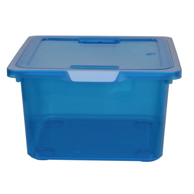 Kreo Box mit Deckel 17.5 Liter blau transparent