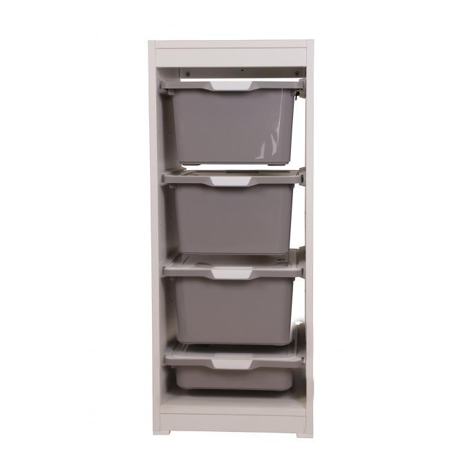 ONDIS24 Kreo Regal hoch grau mit 4 Schubläden je 17.5 Liter