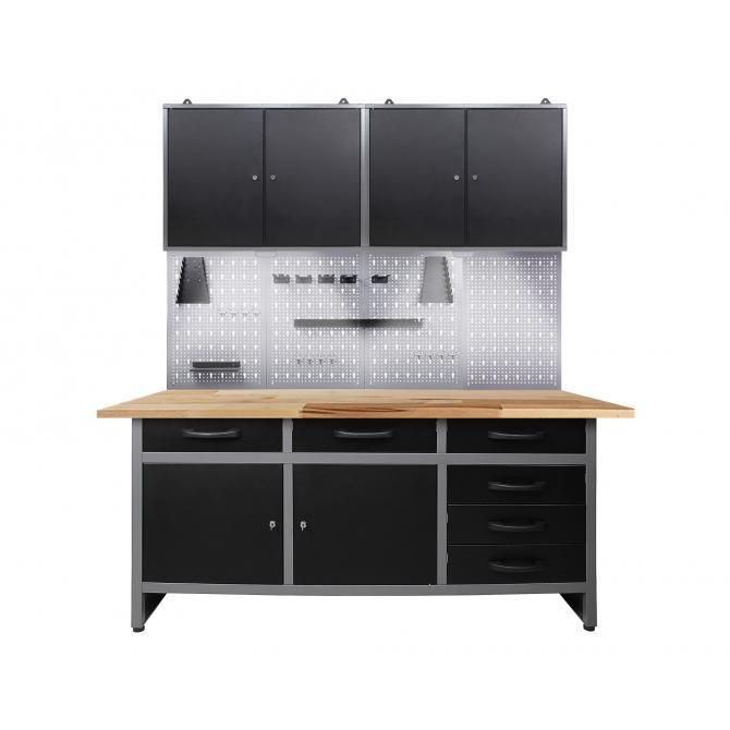 ONDIS24 Werkstatt Set Karsten 160 cm 2 Schränke LED