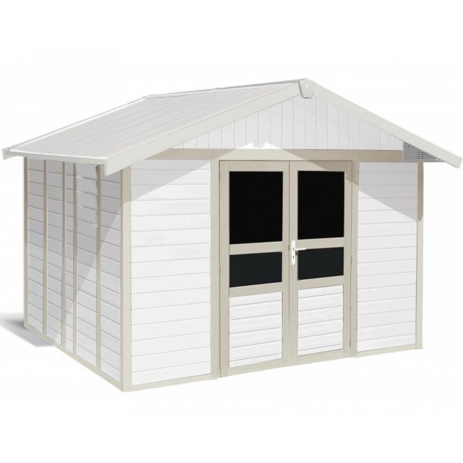 ONDIS24 Gartenhaus Basic Home V4,9 2-türig weiß/grüngrau