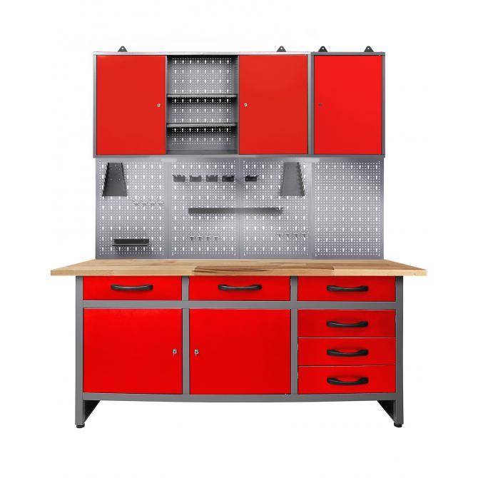Werkstatt Set Karsten 160 cm 2 Schränke offen LED rot