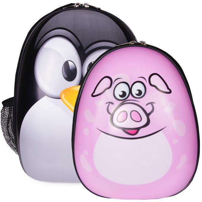 ONDIS24 Kinderrucksack Set Pinguin & Schwein