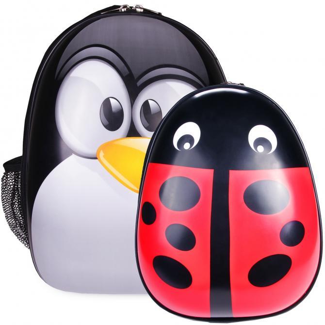 ONDIS24 Kinderrucksack Set Pinguin & Marienkäfer