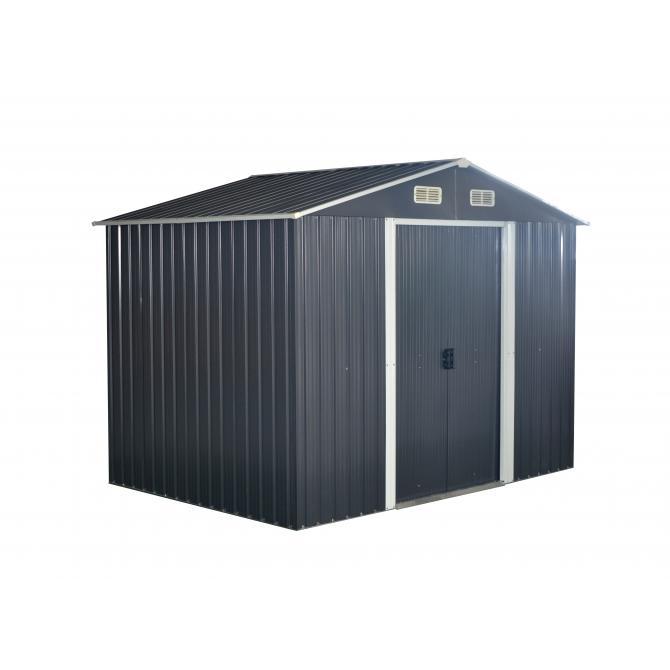 ONDIS24 Gerätehaus Anthrazit Metall Gartenhaus 174x236x190cm