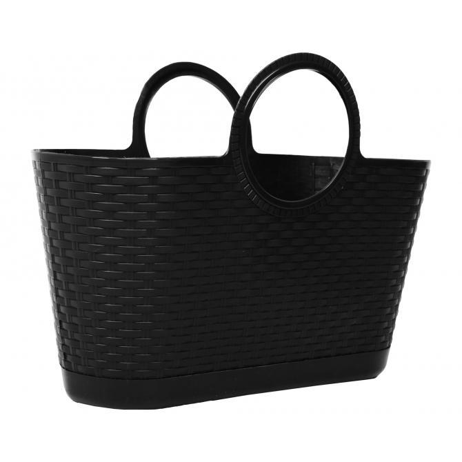 ONDIS24 Strandtasche Einkaufskorb Rattan anthrazit