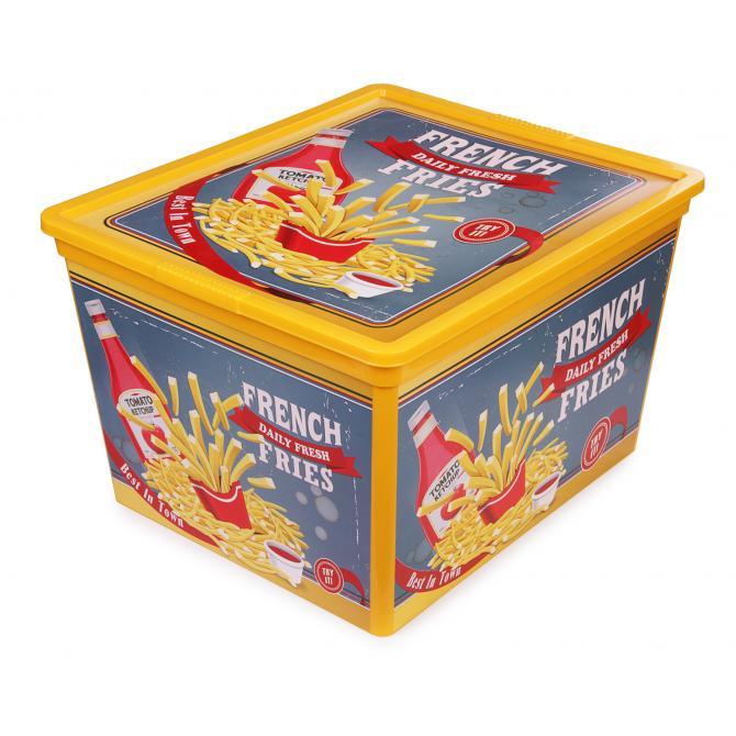 ONDIS24 Aufbewahrungsbox C Box Cube Design Fast Food mit Deckel