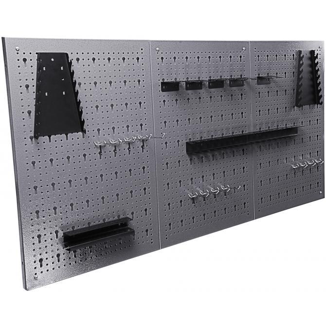 ONDIS24 Lochwand mit 22 teiligem Hakenset grau