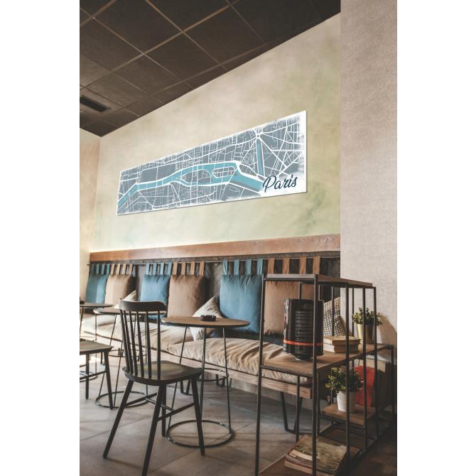ONDIS24 Wandbild Dekorahmen Paris Karte