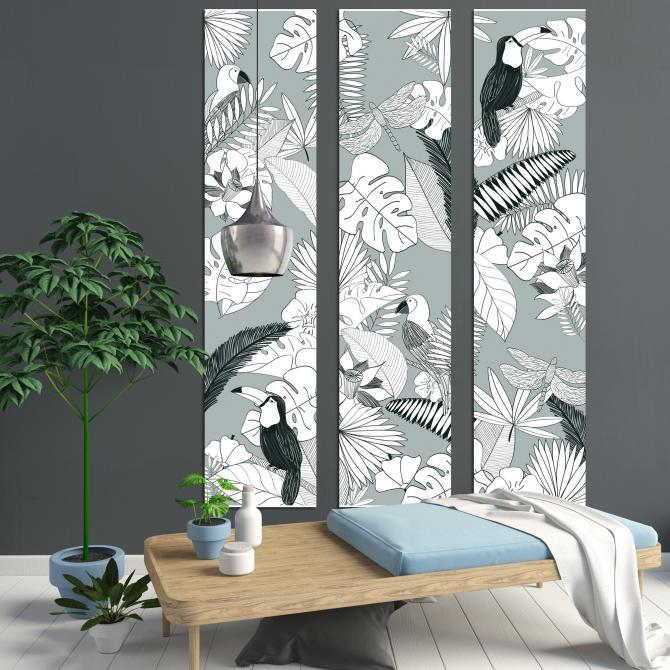 ONDIS24 Wandbild Dekorahmen 3 teilig Dschungel Monochrom