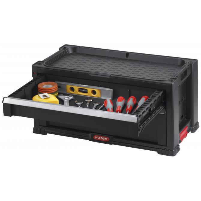 ONDIS24 Keter Werkzeugkasten mit 2 Schubladen Schwarz