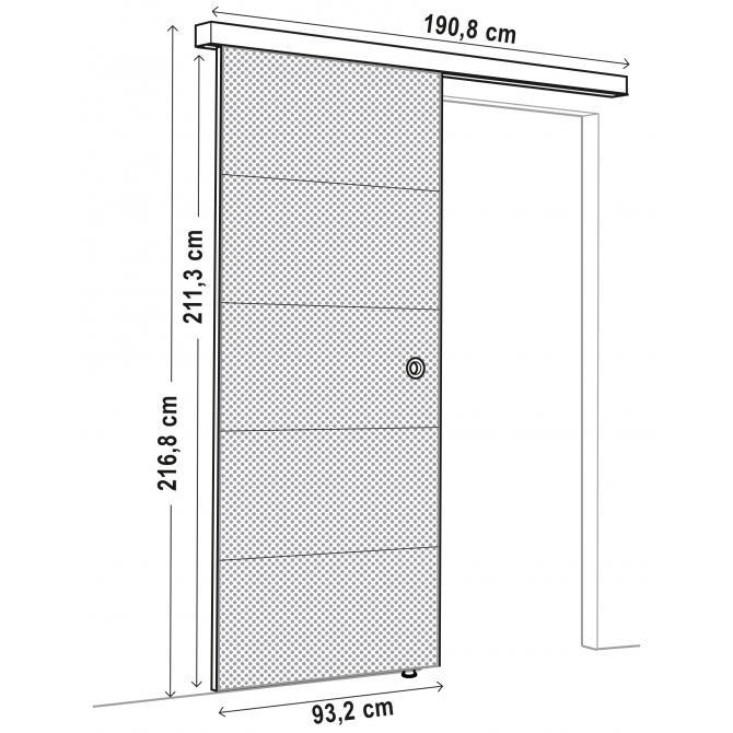 ONDIS24 Schiebetür mit Schiene SLIDE 93 cm weiß