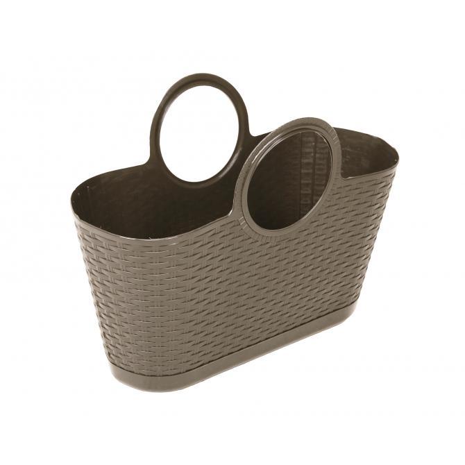 ONDIS24 Strandtasche Einkaufskorb Rattan taupe