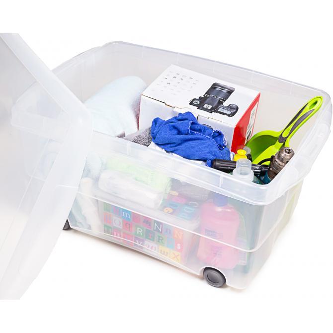 ONDIS24 Rollbox mit Deckel 80L Aufbewahrungsbox mit Rollen