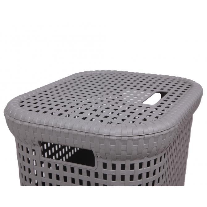 ONDIS24 Wäschekorb Rattan 60 L warmgrau