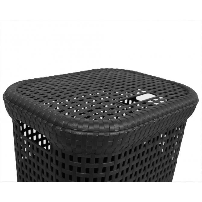ONDIS24 Wäschekorb Rattan 60 L anthrazit