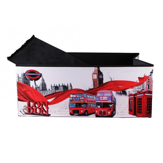 ONDIS24 Polsterhocker London Big Ben Sitzhocker mit Stauraum XL