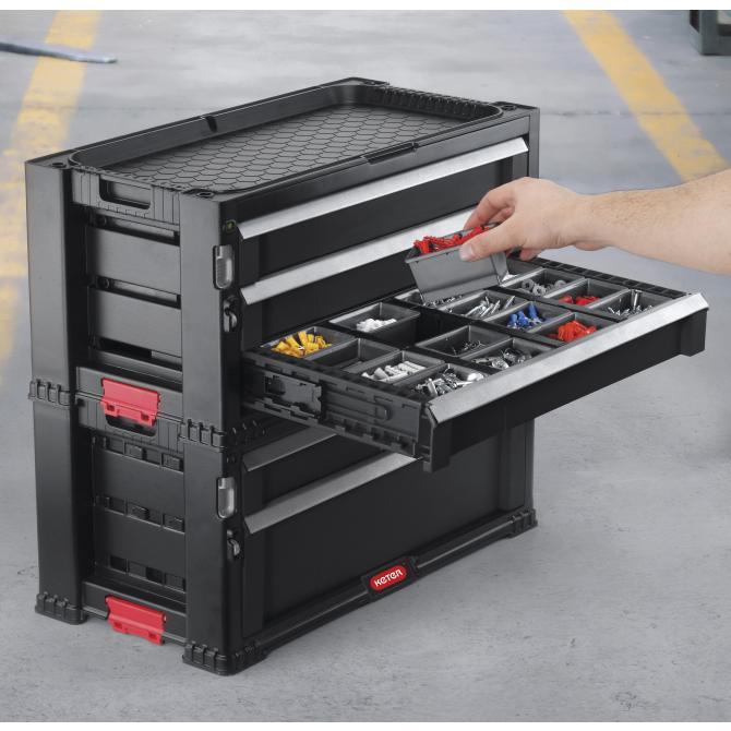 ONDIS24 Keter Werkzeugwagen mit 5 Schubladen Schwarz