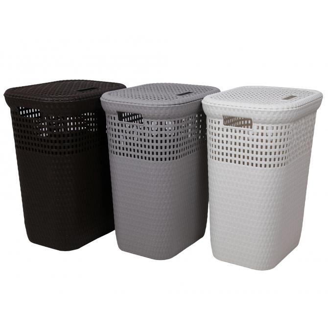 ONDIS24 Wäschekorb Rattan 60 L weiß