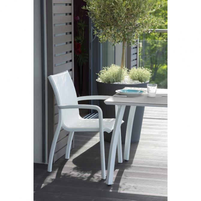 ONDIS24 Deluxe Gartensessel Gartenstuhl Sunset Gastrogeeignet Weiß